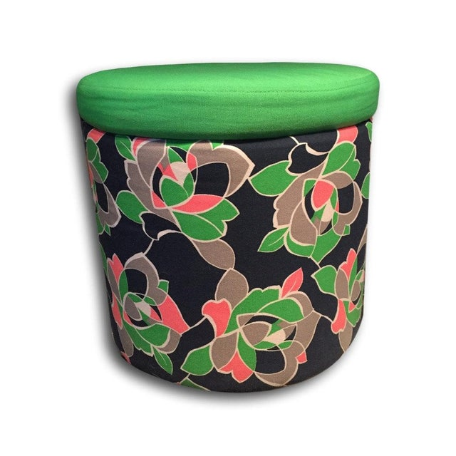 Preppy Patterned Ottoman With Built-In Storage - Image 2 of 4