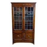 Image of Antique 1900s Oak W/Leaded Stained Glass Hearts 2 Doors Bookcase For Sale