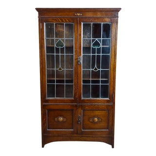 Antique 1900s Oak W/Leaded Stained Glass Hearts 2 Doors Bookcase For Sale