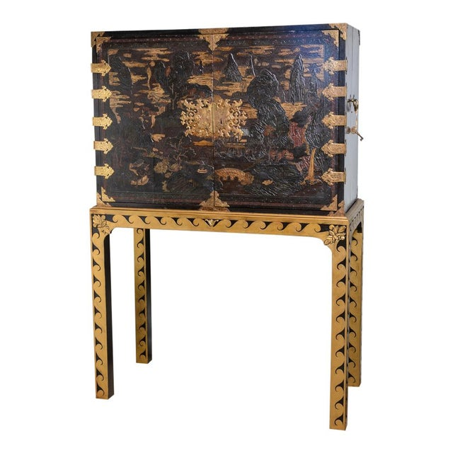 Chinese lacquered cabinet on stand For Sale - Image 11 of 11