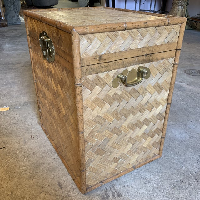 Boho Chic Vintage Rattan Chest Drink Table For Sale - Image 3 of 11