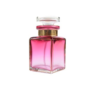 Bohemian Glass Pink Perfume Bottle For Sale