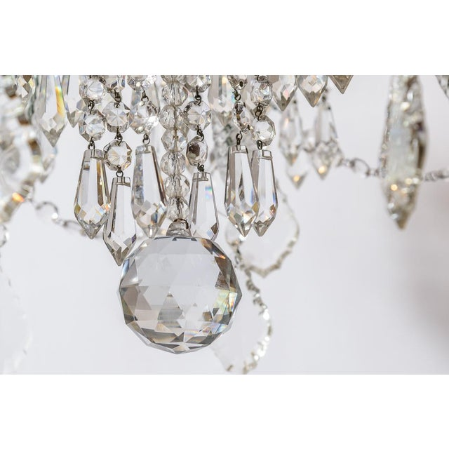 White Pair of Cut Crystal Chandeliers For Sale - Image 8 of 9