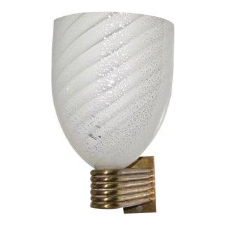 Mazzega 1960s Italian Art Deco White and Silver Murano Glass Bowl Sconce For Sale