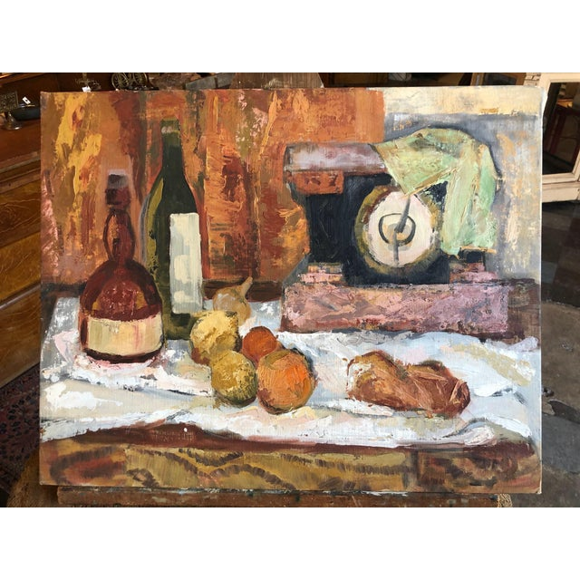 Paint 1960s Traditional Still Life Painting With Wine and Citrus on Board For Sale - Image 7 of 7