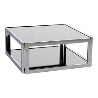 Mid-Century Modern Square Chrome and Smoked Glass Coffee Table