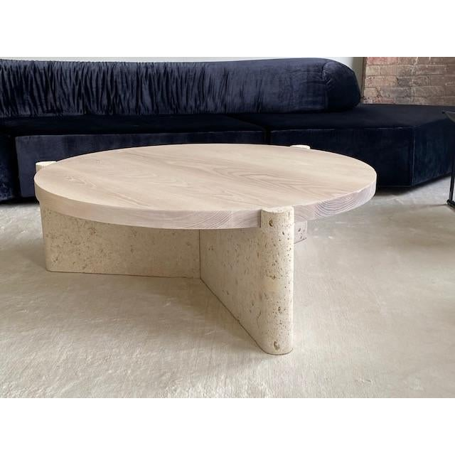 Wood Modern Limestone and Wood Coffee Table For Sale - Image 7 of 7