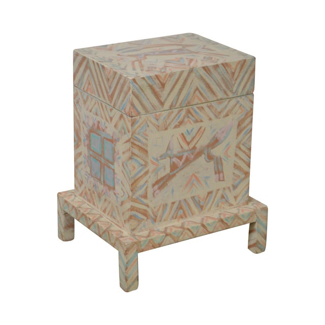 Hand Painted Folk Art Small Lift Top Chest For Sale - Image 11 of 11