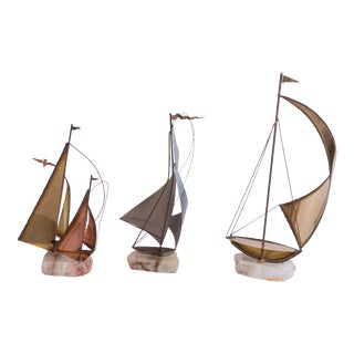 Brass/Stone Sailboat Statuettes - Set of 3 For Sale
