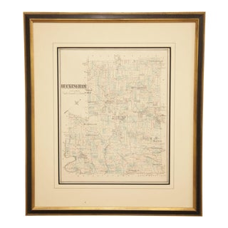 Buckingham Township Map J. D. Scott of Newtown, Publisher Hand Colored Lithograph For Sale