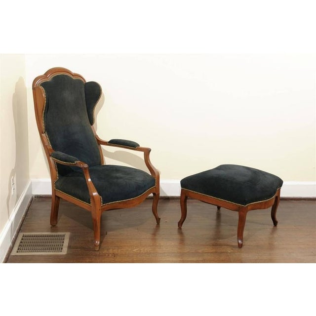 Antique Italian Wing Chair and Ottoman - Image 4 of 8