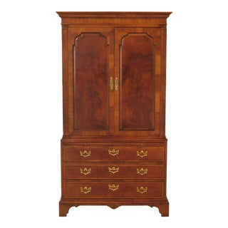 1990s Traditional Henredon Aston Court Walnut Bedroom Armoire Chifferobe For Sale
