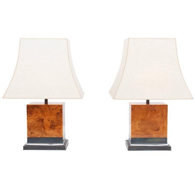 Pair of Burl Lamps by Jean Claude Mahey For Sale - Image 9 of 9