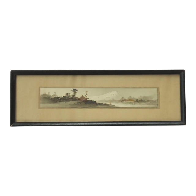 Antique Japanese Landscape Painting Mt Fuji For Sale