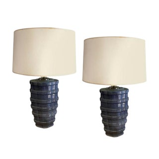 Pair of Ribbed Soft Blue Lamp For Sale