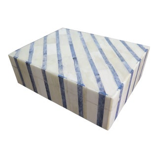 Blue and White Bone Box For Sale