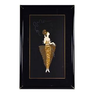 """Erte Signed L/E Art Deco Serigraph """"Contessa"""" Blowing Smoke Rings For Sale"""