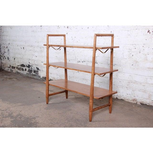 Robsjohn-Gibbings for Widdicomb Mid-Century Modern Maple and Brass Bookcase For Sale - Image 10 of 10