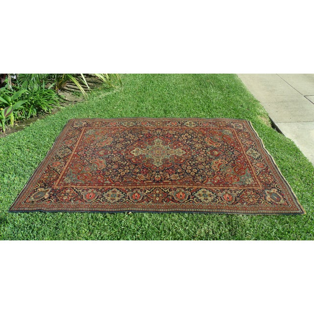 Antique Persian Oriental Handwoven Rug - 4'5'' X 6'6'' For Sale - Image 5 of 11