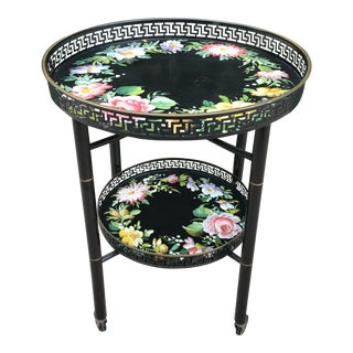 1940s Folk Art Black Floral Tray Table For Sale