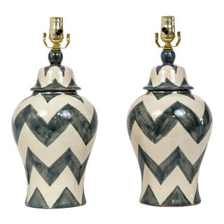 20th Century Boho Chic Gray and Cream Zig Zag Ceramic Jar Lamps - a Pair For Sale