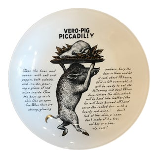 Piero Fornasetti Vero Pig Piccadilly Recipe Plate for Fleming Joffe For Sale