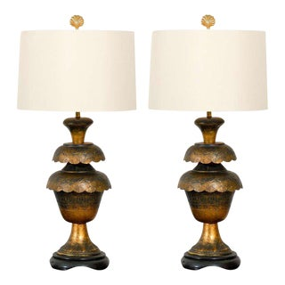 Magnificent Pair of Monumental Brass Lotus Lamps For Sale
