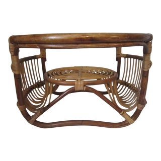 1960s Boho Chic Wicker Table For Sale
