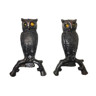 Antique Cast Iron Owl Andirons on Arched Branch Bars With Glass Amber Colored Eyes - a Pair