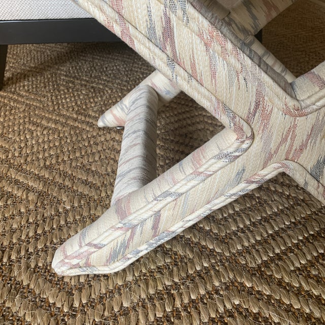 1990s Vintage Weiman Upholstered X Bench For Sale - Image 5 of 13
