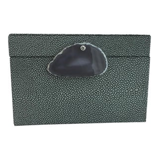 Shagreen Textured Leather Box For Sale