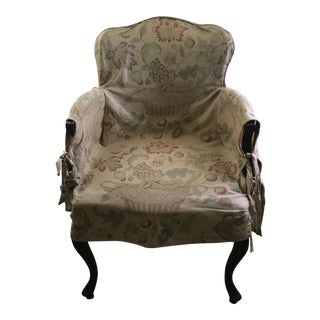 Cherry Wood Side Chair With Slipcover in Bennison Bird and Basket Fabric