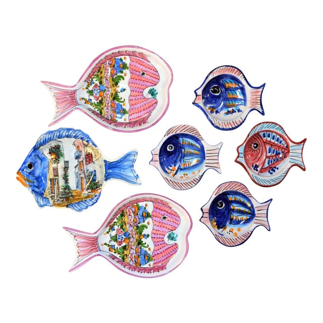 Vintage Collection of Mediterranean Pescado Majolica Dishes - Set of 7 For Sale