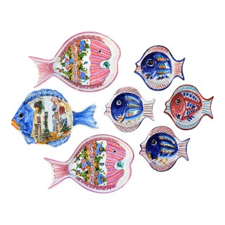 Vintage Collection of Pescado Majolica Pottery Dishes - Set of 7 For Sale