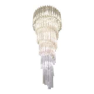 1970s Hollywood Regency Murano Glass Venini Tiered Waterfall Chandelier in Chrome Spiral For Sale