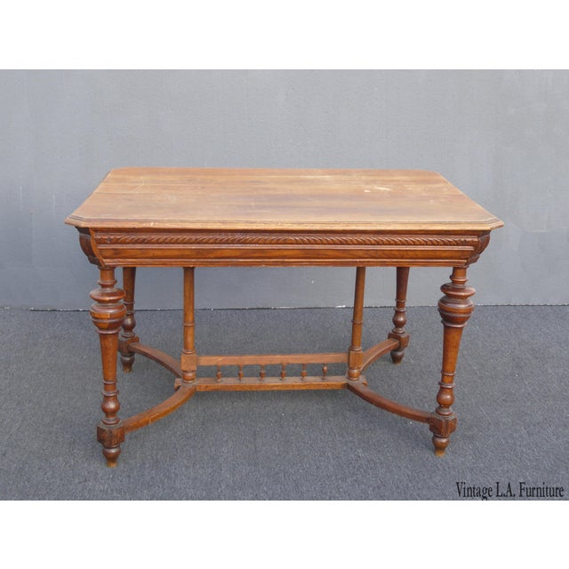 Antique Spanish Style Library Table Desk W Stretcher Mission Style For Sale - Image 13 of 13