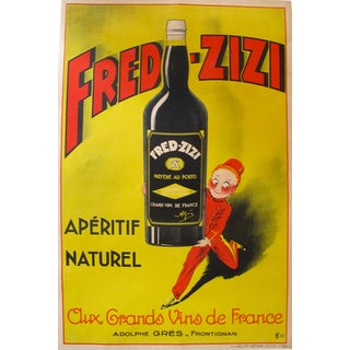 1932 Vintage French Art Deco Fred Zizi Alcohol Poster For Sale