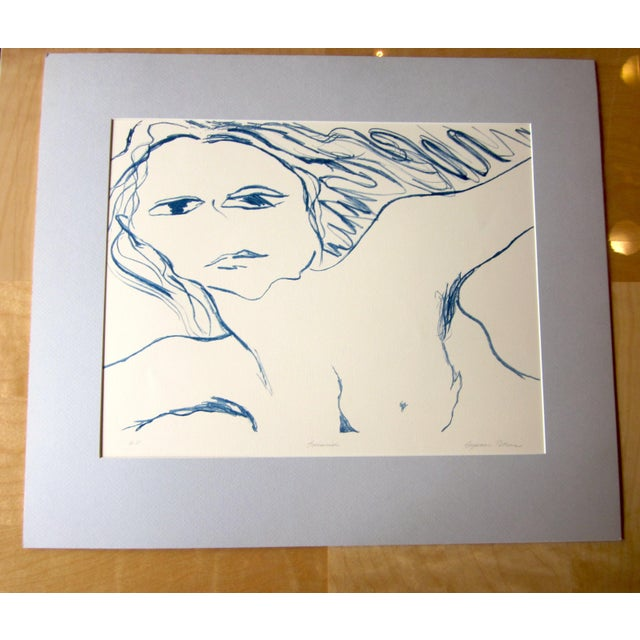 """This is a vintage 1970s stone lithograph fine art print, signed by Chicago artist Suzanne Peters and marked """"EV"""" as a..."""
