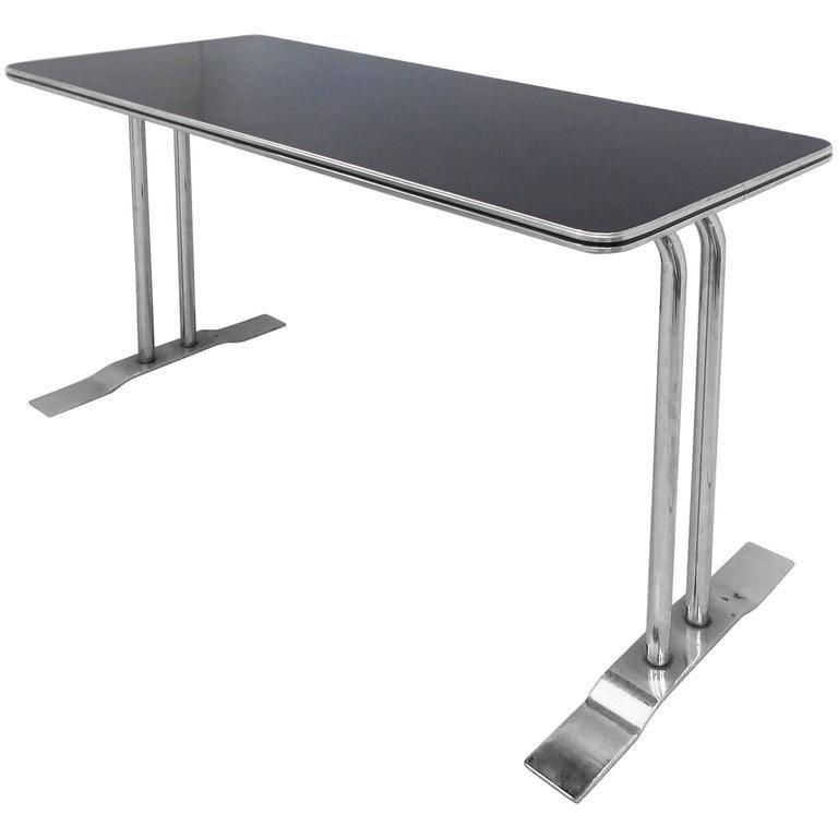 Chrome Art Deco Streamline Chrome Writing Table Or Console Table For Sale    Image 7 Of