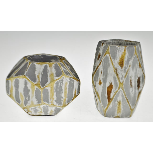 Wood Vintage Geometric Faceted Votive Candle Holders - a Pair For Sale - Image 7 of 9