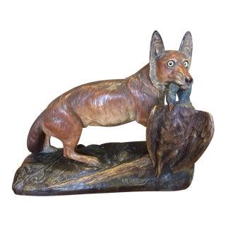 20th Century E. M. Samson Bronze Patinated Terracotta Fox Statue For Sale