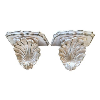 White and Gold Gilt Ceramic Architectural Shell Wall Shelf Brackets or Corbels- a Pair For Sale