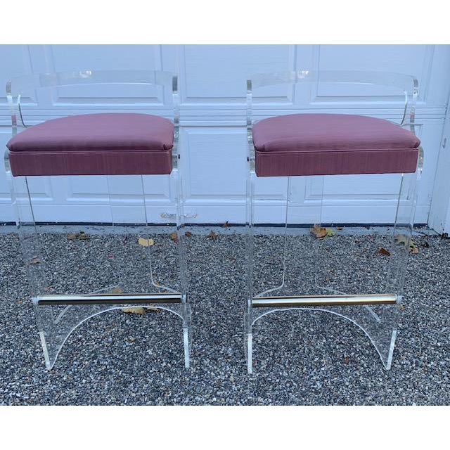 1980s Vintage Charles Hollis Jones Lucite Bar and Stools For Sale - Image 5 of 10