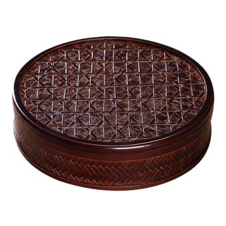 Asian Hand Plaiting and Weaving Bamboo Round Box For Sale