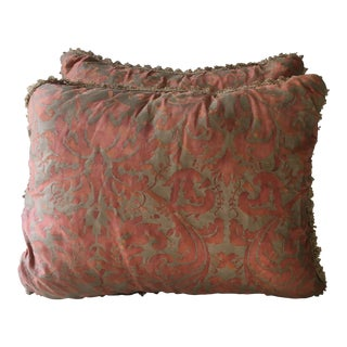 1980s Fortuny Fabric Pillows - a Pair For Sale