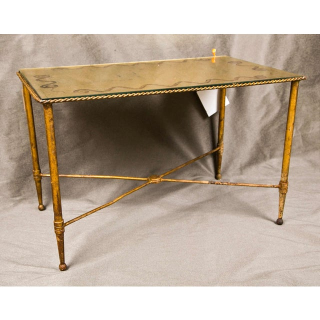 Bronze And Glass Coffee Table: Bronze Based Gilt Glass Top Coffee Table