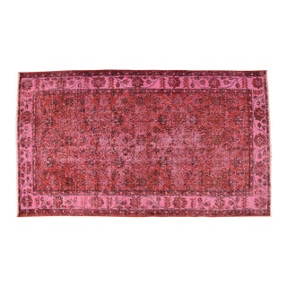 Red Overdyed Turkish Hand Knotted Rug - 3′10″ X 6′7″ For Sale