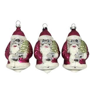 Vintage Glass Santa Christmas Tree Ornaments - Set of 3