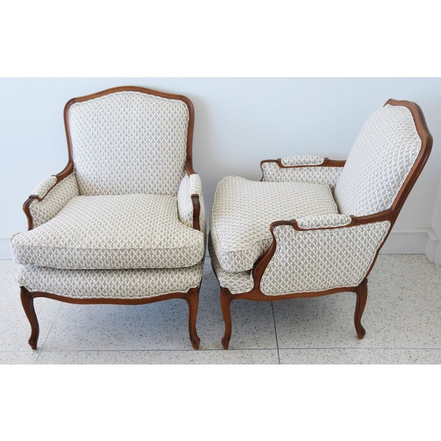 Vintage French-Style Newly Upholstered Bergere Chairs - Pair For Sale - Image 10 of 13