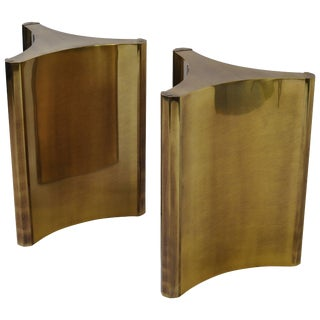Mastercraft Brass Dining Table Pedestals - a Pair For Sale